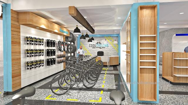 ออกแบบร้านอุปกรณ์จักรยาน